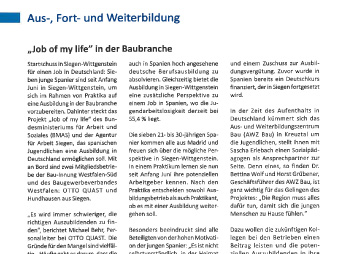 """Job of my life"" in der Baubranche"